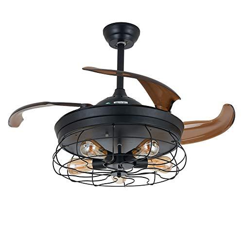 RANZIX - Ventilador de techo (42 pulgadas, invisible, 5 bombillas Edison no incluidas, con mando a distancia) (modelo 1)