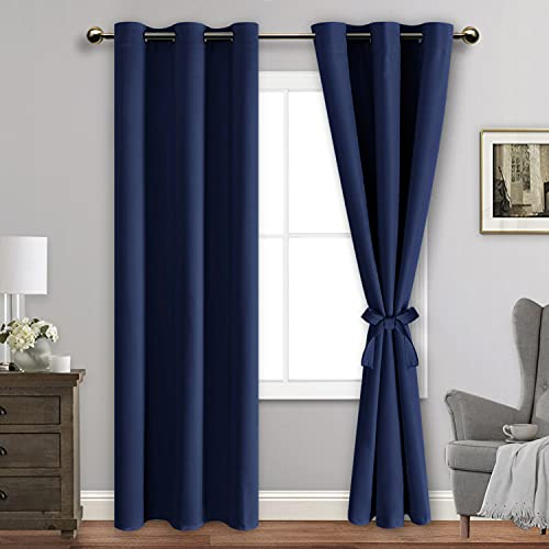 ROSETTE Blackout Curtains with Tiebacks - Thermal Insulated, Light Blocking and Noise Reducing Grommet Curtain Drapes for Bedroom and Living Room, Set of 2 Panels, 42 x 84 Inches Long, Navy Blue