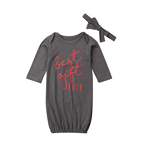 Neugeborenes Baby Jungen Mädchen Wickeltuch Decke Nachthemd Set Take Home Outfit Schlafsack Strampler Stirnband Gr. 70 cm, Beste