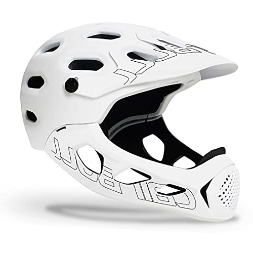 ZJM Adult Bike Helmet, Mountain Off-Road Bicycle Full-Face Helmet with Removable Chin Bar, Comfortable Breathable MTB Bike Helmet, CE Certified, M/L (56-62Cm),White