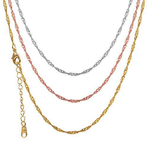 Suplight Damen Singapurkette Rosegold vergoldet 2mm breit Halskette Ersatzkette für Anhänger, Rosegold