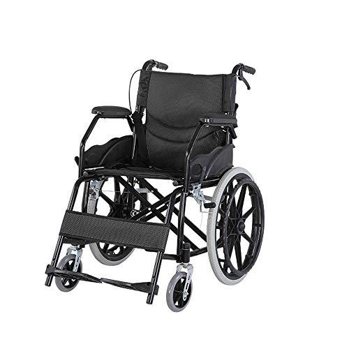 JINGQI Haushalt Folding Multifunktionale Rollstuhl Tragbare Carbon Steel Folding Rollstuhl Ältere Mobilität Rollstuhl-Four-Brake Design-Breath Kissen,Schwarz