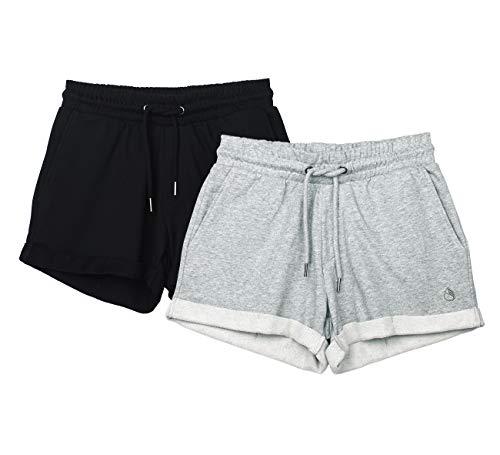 icyzone Damen Sweatshorts 2er Pack Kurze Sporthose Gym Fitness Shorts (XL, Black/Grey)