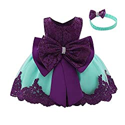 Purple + Green Color Tutu Dress With Rhinestones for Baby