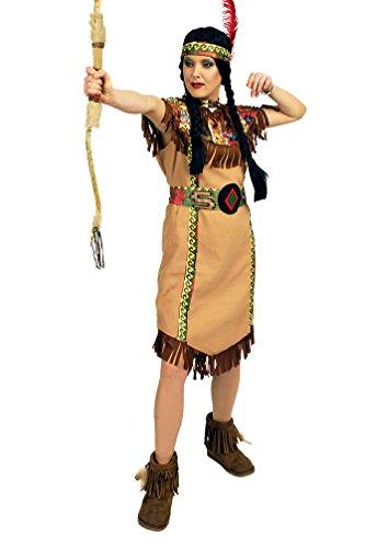 Karneval-Klamotten Indianer-in Kostüm Damen Indianerin Kostüme beige-braun Damenkostüm Kleid Gürtel inkl. Stirnband