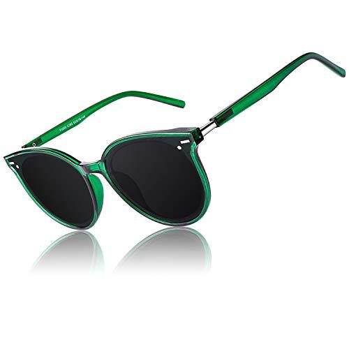 CGID Gafas de Sol Mujer Polarizadas de Gran Tamaño,2021 Tonos de Moda para Mujer,Gafas de Sol Redondas Retro Vintage Gris Verdoso