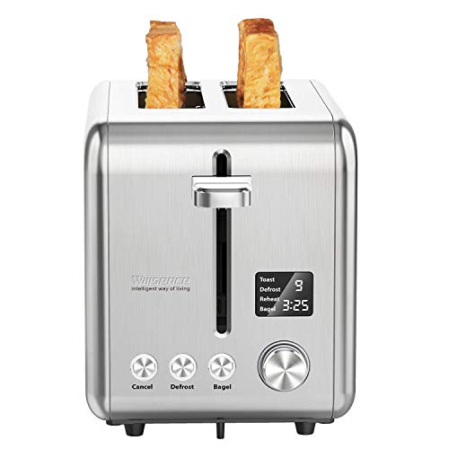 Toaster 2 Slice, Willsence Stainless Steel Bagel Toaster with Extra Wide Slots, LCD...
