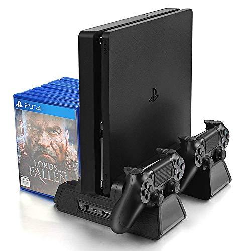 KONKY Soporte Vertical para PS4/PS4 Slim/Pro, Base PS4 con 3 Ventiladores Refrigeración, Cargador Controlador PS4 y 12pcs Almacenamiento de Discos, ( Cable USB Incluido )