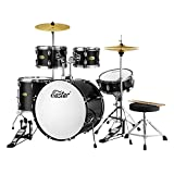 Eastar 22 inch Drum Set Kit Full Size for Adult Junior Teen 5 Piece with Cymbals Stands Stool and Sticks, Mirror Black