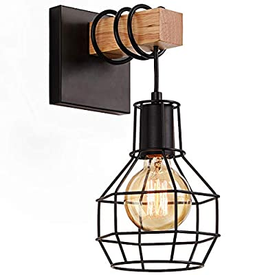 Lightess Black Wall Sconces, Vintage Cage Wall Mount Light Fixture Industrial Farmhouse Lighting for Living Room Kitchen, C71Y215