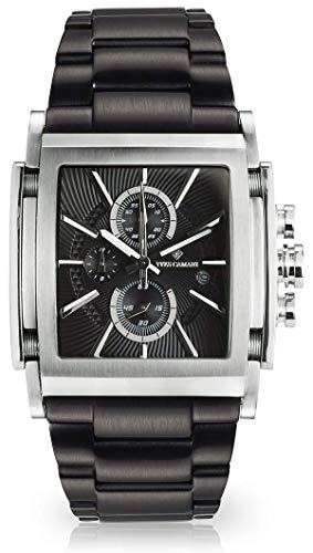 YVES CAMANI ESCAUT Herren-Armbanduhr Chronograph Analog Quarz Edelstahl-Gehäuse Edelstahlband (Edelstahl - Schwarz)