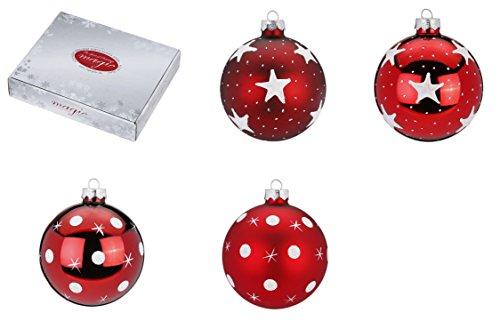 Inge-glas 41101H812MO versierde glazen bollen, 80 mm, 12 stuks/doos, rood/donkerrood, 2 verschillende decors