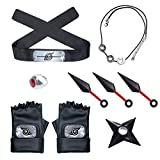 Naruto Headband Necklace Plastic Toy Kunai Ring Gloves Cosplay Accessories