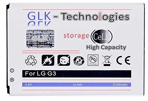 High Power Ersatzakku kompatibel mit LG G3 D855 D690 D830 D850 D851 LTE | Original GLK-Technologies Battery | accu | 3100mAh Akku | 2021 B.j