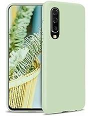 CRABOT Compatible con Samsung Galaxy A70 Silicona Líquida Caso Cubierta de Goma Anti-caída Resistente a Los Arañazos Carcasa del Teléfono+1*(Protector de Pantalla Gratuito)-Verde
