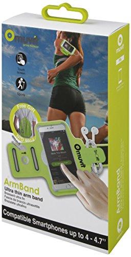 Muvit MUARM0028 - Brazalete Fino Universal para Smartphone (4-4.7', Incluye Bolsa de Deporte), Color Verde Lima