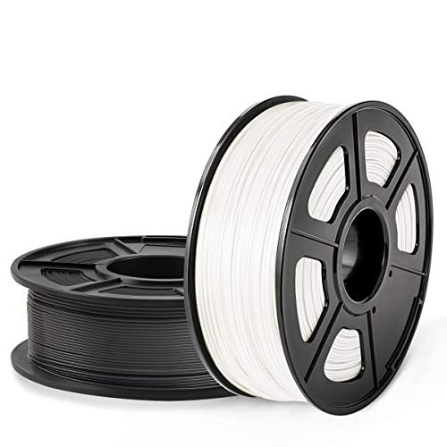 SUNLU 3D  Impresora filamento ABS, 1.75 mm ABS, filamento de impresión 3D Precisión dimensional de bajo olor +/- 0.02 mm, 2.2 LBS (1 kg) Filamento 3D de carrete, negro + blanco, 2