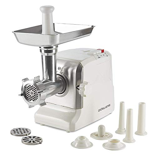 Andrew James Meat Mincer Grinder Sausage Maker Stuffer | 3 Grinding Blades 3 Nozzles & Attachments | 700w | White