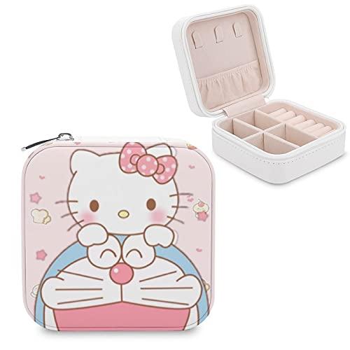 Hello KittyJewelry - Caja de almacenamiento para joyas con compartimento para la gestión del hogar, viajes, pendientes, collar y collar de moda