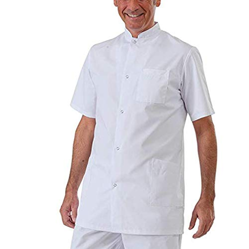 Yowablo Hemd-Paar Plus Größen-Art- und Weisereine Farben-Mehrfachkurzschluss-Hülse lösen (XXL,Weiß)