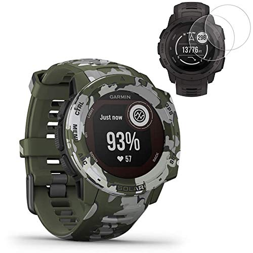 Garmin Instinct Solar GPS Smartwatch Camo Edition(010-02293-16) w/ 2X Screen Protectors