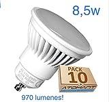 Pack 10x GU10 LED 8,5w Potentisima. Color Blanco Cálido (3000K). 970 Lumenes. Angulo de 120 grados. A++