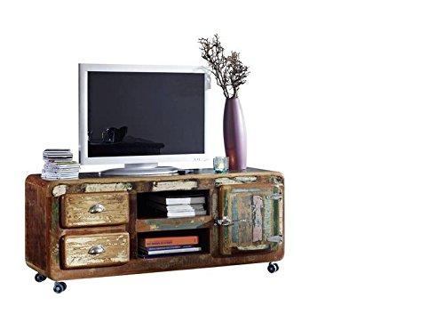 Meuble TV avec roulettes - Bois massif recyclé laqué (Multicolore) - Inspiration Ethnique - FREEZY #09