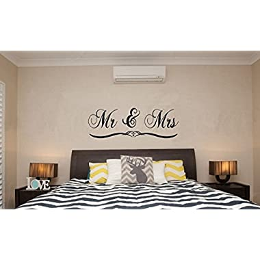 DNVEN Black Medium 47 x 16  Mr and Mrs Husband and Wife Bedroom Wall Decal Stickers Art Decor Home Vinyl Lettering Romantic Wedding Anniversary Wall Decals