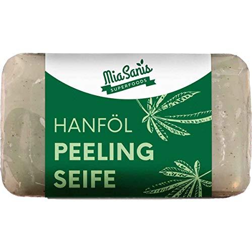 Hanföl Peeling Seife 100g von Miasanis® - 100% Reine Naturseife zur Pflege empfindlicher Haut, ohne Konservierungs- und Duftstoffe - Hanföl Seife ohne Zusätze