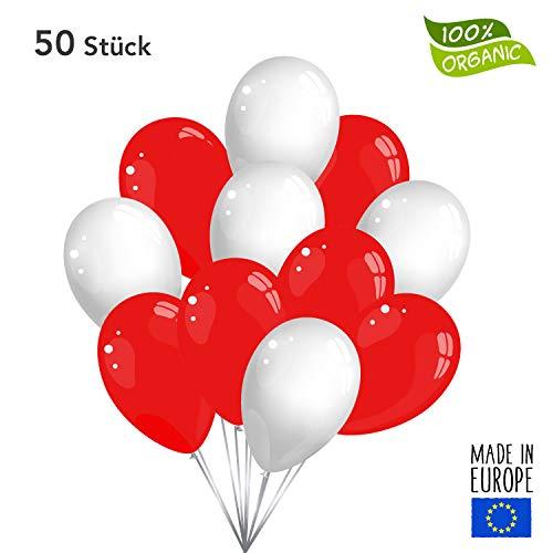 50 Premium Luftballons in Rot/Weiß - Made in EU - 100% Naturlatex somit 100% giftfrei und 100% biologisch abbaubar - Geburtstag Party Hochzeit Silvester Karneval - für Helium geeignet - twist4®