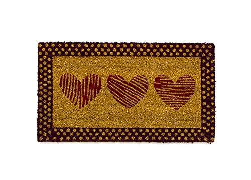 BIANCHERIAWEB Zerbino ingresso casa 70x40 cm, Tappeto esterno antiscivolo con setole in fibra di Cocco, Materiale resistente, Zerbino ingresso casa simpatico con tre Cuori Rossi