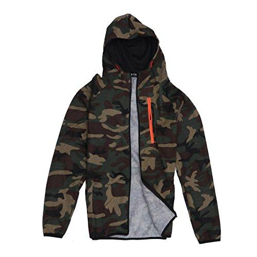 OULII Herren Mantel Outdoor Camouflage Zipper Jacke Outwear Größe XL (Camouflage Grün)