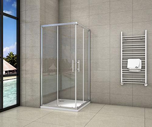 Cabine de douche 80x80x195cm en 6mm verre anticalcaire porte de douche coulissante l'ccès d'angle