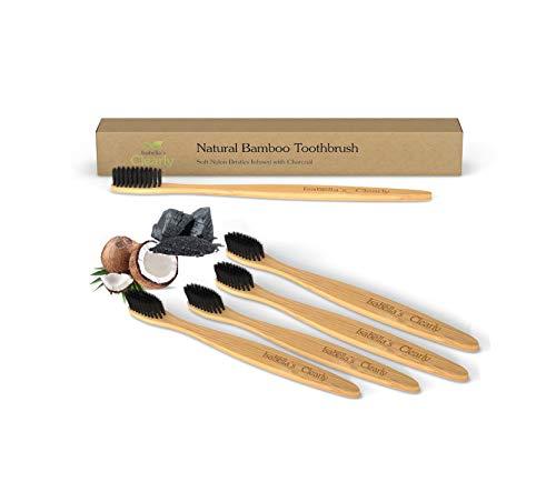 Clearly BAMBOO - Cepillo de dientes de madera | Cerdas suaves con infusión de carbón vegetal, sin BPA, ecológico, biodegradable, nailon vegano | Blanqueamiento de dientes, encías sensibles, adultos y niños (paquete de 4)
