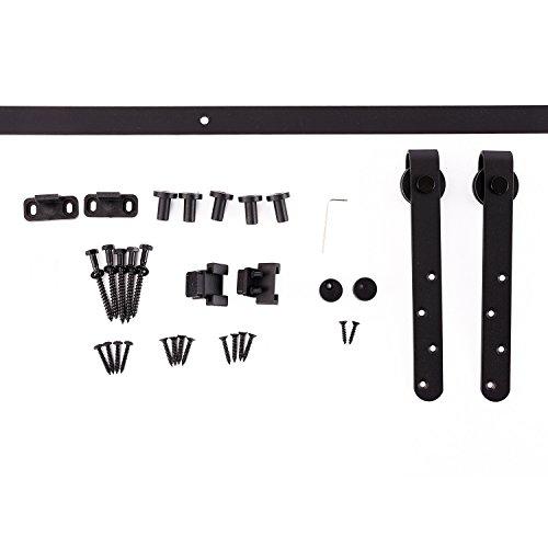 Kit de porte coulissante système galandage avec porte épaisseur 20-25 mm largeur max. 0,9 m charge max. 20 Kg acier noir