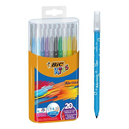 BIC Kids Fasermaler Kid Couleur – Filzstifte in praktischer Stiftebox zum Mitnehmen – 1 x 20 Stifte in leuchtenden Farben