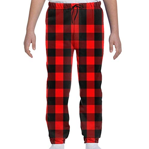 Adolescents Garçons Filles Pantalons de survêtement Jogging Bottom Sports ou Loungewear Pantalons, Red and Black Buffalo Check Plaid Tartan