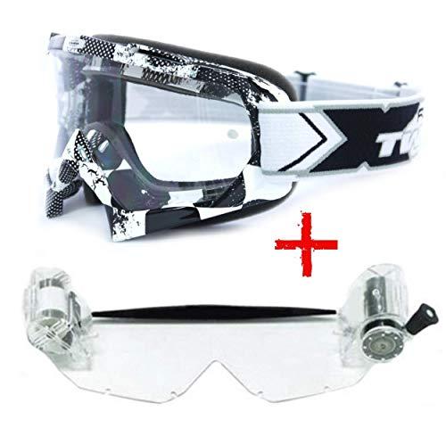 TWO-X Race Crossbrille Roll Off MX Brille schwarz Weiss Motocross Enduro Factory Schmutz Schutzbrille