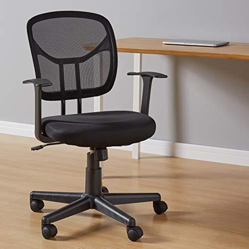 AmazonBasics Mid-Back Desk Office Chair with Armrests - Mesh Back, Swivels - Black
