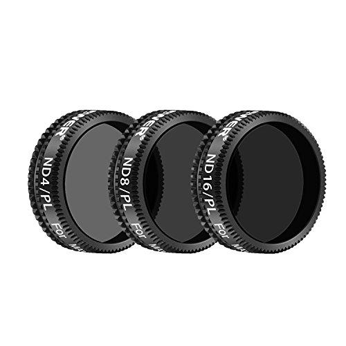 Neewer Filter Set für DJI Mavic Air: ND4/PL, ND8/PL, ND16/PL Filter, Hergestellt aus Mehrfachbeschichteten wasserdichten Aluminiumlegierung Rahmen Optischen Glas (3er,Schwarz)