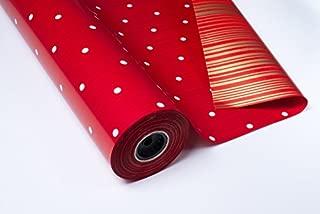 Bobina Papel DE Regalo 70CMX100M DE Luxe Doble Cara Rojo/Topo Blanco - Oro