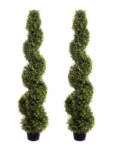 Best Artificial - Arbusti sempreverde Buxus decorativi modellati a spirale, altezza 120 cm, confezione da 2