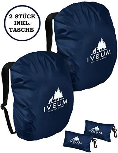 IVEUM 2er Set Hochwertiger Rucksack Regenschutz – Verschiedene Größen an Rucksack Regenüberzug – Rucksackschutz in 18 l – 70 l (M (26l - 40l))