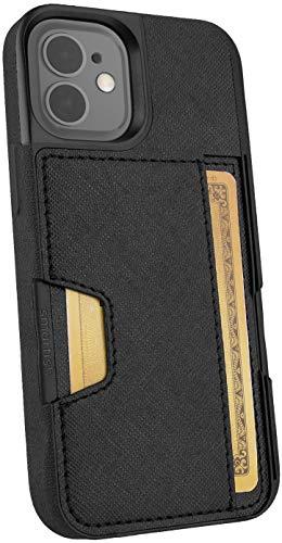 Smartish iPhone 12 Mini Wallet Case - Wallet Slayer Vol. 2 [Slim Protective Kickstand] Credit Card Holder (Silk) - Black Tie Affair
