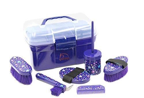 AMKA Pferde Putzbox Sterne Putzkasten Putzkoffer gefüllt für Kinder 6 teilig LILA