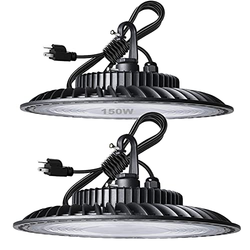 Lightdot 2Pack 150W LED High Bay Light for Warehouse, 5000K 18000LM Super Bright High Bay LED Light, 5ft UL Cable with Plug Commercial Bay Lighting for Warehouse/Workshop/Wet Location Area Light