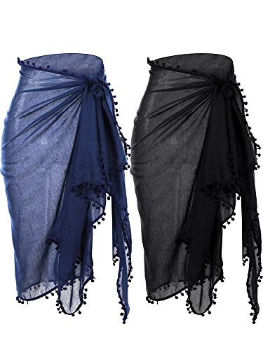 2 Pieces Women Beach Batik Long Sarong Swimsuit Cover up Wrap Pareo with Tassel for Women Girls (Black, Grey)