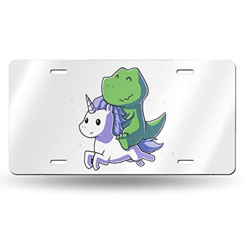 Paoseven Namensschild, Motiv: Dinosaurier auf Einhörnern, personalisierbar, Aluminium, 15,2 x 30,5 cm, 1 Stück, weiß, Einheitsgröße