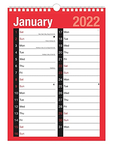 2022 A4 Size Calendar Large 2 Column Month to View Spiral Bound Wall Planner Red and Black Canender for Home Business Office School 1 January 2022 to 31 December 2022