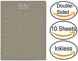 PMU Premium Microblading Practice Skin Double-Sided   Professional Realistic Hairstroke Tattoo Latex   Special Eyebrow Designs For Cosmetic Tattooing (White - 10)
